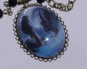 Mermaid Pegasus Cameo Necklace with Antique Brass