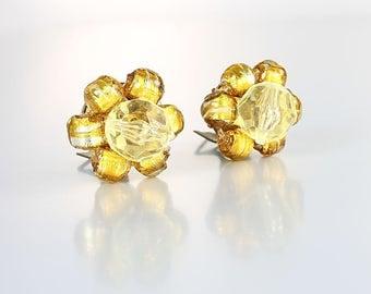 Venetian glass Earrings, Silver Gold Foil Bead Murano Cluster earrings, vintage Italy jewelry