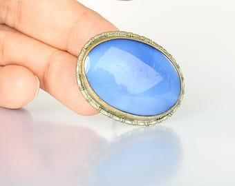 Czech Satin glass Brooch, Cornflower Blue Cats eye Art Deco Brooch, Antique jewelry