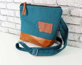 BRI Messenger Bag  - Teal Linen with Montana Patch  PU Leather -  Adjustable messenger Zipper Purse