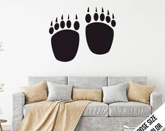 Bear Paw Prints Wall Decal  - Claws, Forrest, Nature, Animal - Vinyl Sticker