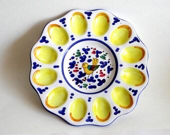 Deruta Egg Plate Made in Italy Bird Egg Plate Blue Vintage Deruta Majolica Egg Platter Easter Plate