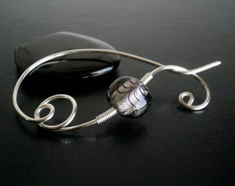 Shawl Pin, Scarf Pin, Brooch, Silver pin, Wire Wrapped brooch, Artisan Jewelry, wire jewelry