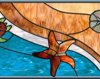 Starfish Emerging  Ashley Crane • Custom -  Leaded Stained Glass Window