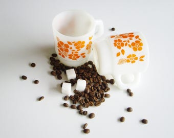 Vintage Milk Glass, Orange Flowers, Stackable Mugs, Anchor Hocking, Set of 2, White and Orange, Mugs, Mid Century, Mug Set, Coffee mug, mcm