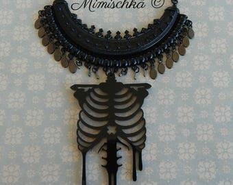 Necklace black choker rib cage skeleton