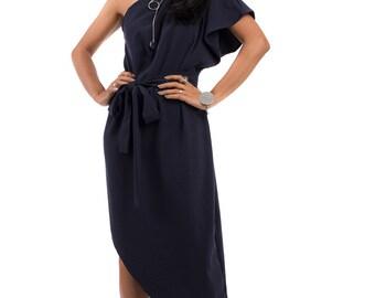 Navy Blue dress, One shoulder dress, Midi evening dress, sleeveless dress : Prom Queen Collection 2
