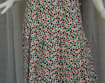 Vintage YSL Yves Saint Laurent Pleated Polkadot Skirt France