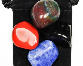 ANXIETY TAMER Tumbled Crystal Healing Set - 4 Gemstones w/Description & Pouch - Bloodstone, Jasper, Onyx, and Sodalite