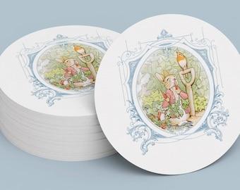 PETER RABBIT STICKER, Seal, Gift Tag, Gift Card, Label, Round, Circle, Peter Rabbit Cupcake Topper Printable Digital File 1008