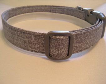 Handmade Cotton Dog Collar - Gray and Silver