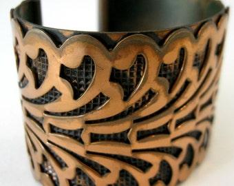 Vintage Scroll Art deco Copper Cuff - 100