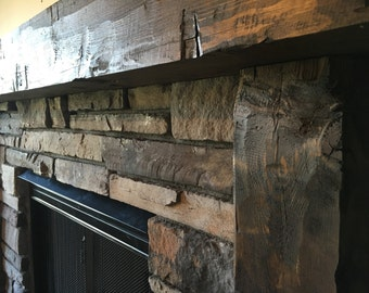 fireplace mantel beam. Wooden Mantel  Fireplace Surround Hand Hewn Rough Barn wood mantel Etsy