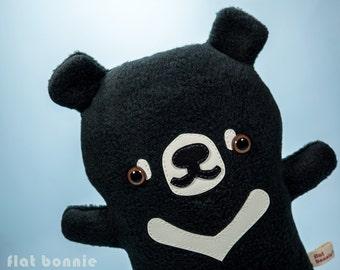 Moon Bear plush stuffed animal, Kawaii stuffy bear cub soft toy, Cute black bear plushie doll, Handmade gift Woodland room decor Flat Bonnie