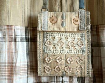 Necklace Textile art Mini Pouch Secret Bohemian necklace shabby Handmade Pendant Jewelry textile Idea gift