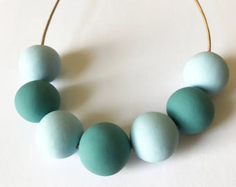 Blue Minimalist Necklace Modern Geometric