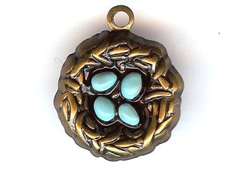 Enameled BIRD NEST Charm. Bronze Finish Stamping then Enameled. One Sided 3D With Eggs. Made in the USA.