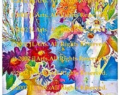 """DIGITAL DOWNLOAD Watercolor floral print bright colors blue red purple burgundy orange green yellow  Victorian """"Charles' Flowers'"""