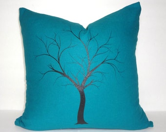 Beautiful Dark Teal Screenprinted Black Tree Pillow Cover Size 18x18 Elegant Bold Color