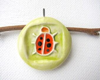 Ladybug Ceramic Pendant