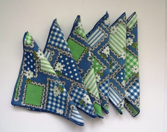 Retro Blue Green Napkins - Set of 6 - Polka Dots Plaid Flowers - Country Patchwork Picnic Napkins - Vintage Table Linens - Gift - Crafts