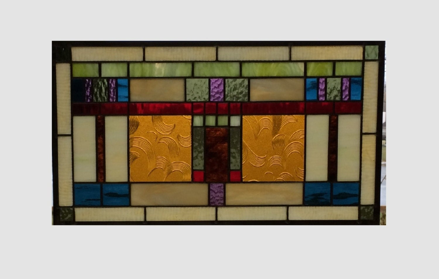 Arts and crafts stained glass panel window hanging by sghovel for Arts and crafts glass