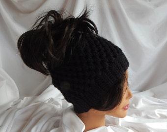 Messy Bun Hat Pony Tail Hat - Crochet Woman's Fashion Hat - Black