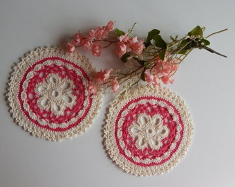 "Small Crochet Doily Pair - Hot Pink - Lacy Small Mini 6"" - Set of 2"
