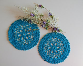 "Small Crochet Doily Pair - Turquoise - Lacy Small Mini 6"" - Set of 2"