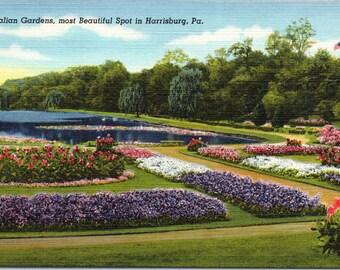 Harrisburg, Pennsylvania, Italian Gardens - Linen Postcard - Postcard - Unused (R)