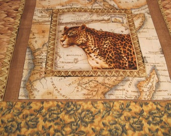 """14"""" x 14"""" PILLOW COVER - Exotic World Market African Cheetah Big Cat Prowls against Map"""