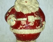 Vintage 1930's Roly Poly Chalkware Santa 8 inches
