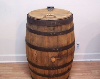 Old Whiskey Barrel Trash Can With Single Hinged Lid & Liner-FREE SHIPPING