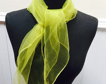 Vintage 1960s Sheer Yellow Chiffon Scarf