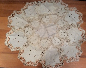 20 Piece Vintage Cut Work and Lace Table Linens, Vintage Linens, Vintage Doilies, Cut Work Doilies, Table Linens, Vintage Lace