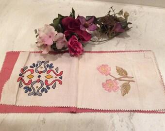 Vintage Cut Work Lace on Linen, Vintage Linens, Vintage Pillow Squares , Vintage Samplers