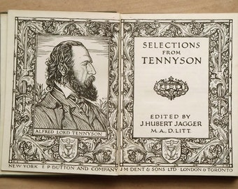 Tennyson Poetry Book Selections from Tennyson 1920s vintage book