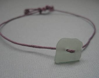 Purple and Green Sea Glass Friendship Bracelet, Genuine Sea Glass Wish Bracelet