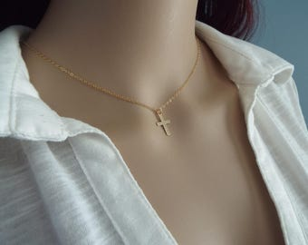 14k Gold Cross Necklace Tiny Simple gold filled dainty jewelry Small cross gift Minimalist