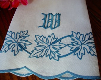 White Linen Towel Blue Embroidery Monogram W Vintage Towels