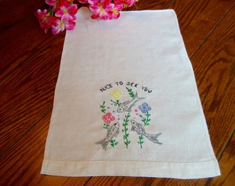 Linen Guest Towel Vintage Embroidered Towel Fish Tea Towel