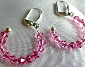 "Pink Swarovski crystal hoop earrings, ""Pink Panther"", statement earrings, gifts for her"