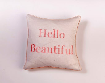 Hello Beautiful embroidered Pillow cover