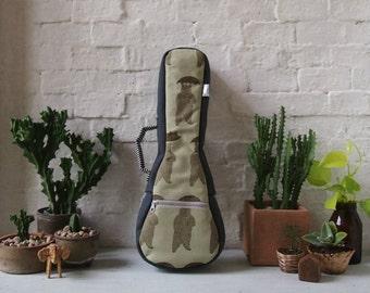 Soprano Ukulele Case - Japanese Cotton Ukulele Case with removable strap (Ready to ship)