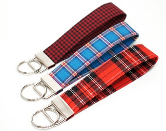 Plaid Key Chain / Key Fob / Wristlet - Choose Your Fabric and lenght