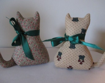 pair of handmade fabric cats small weighted