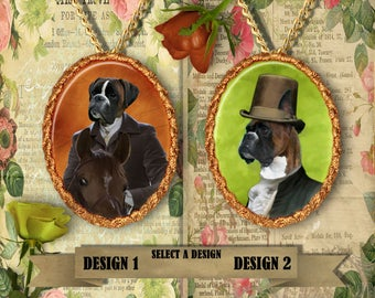Boxer  Dog Jewelry. Boxer Pendant or Brooch. Boxer Necklace. German Boxer Portrait. Custom Dog Jewelry by Nobility Dogs.Dog Handmade Jewelry