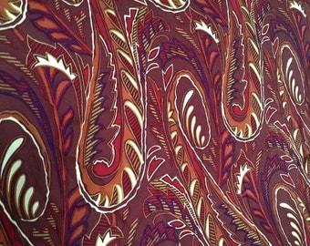 Vintage Silk Scarf Foulard, Bill Blass, Autumn Paisley