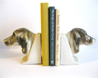 Vintage Dog Book Ends Ceramic Japan Golden Retriever Fathers Day Birthday Gift Dogs cottage cabin lodge home shelf decor book holders
