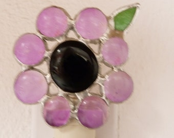 Stained Glass Night Light, Purple Flower, Wall Plug In, On Off Switch, Lead Free Solder, Floral, Bedroom, Bathroom, Woman, Girl, Handmade